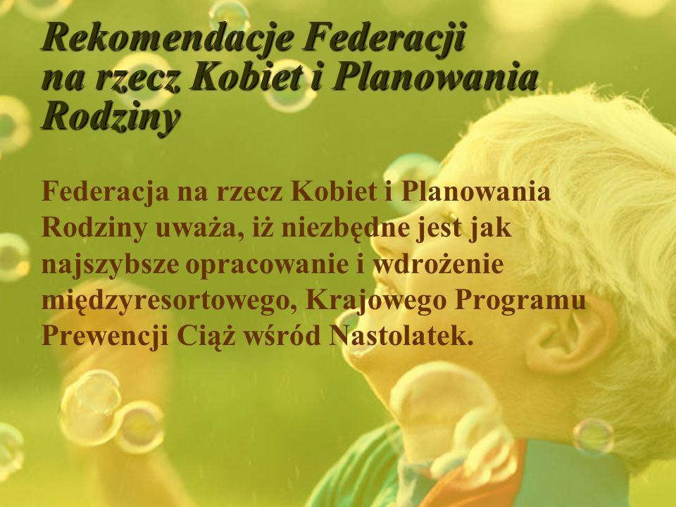 Rekomendacje Federacji na rzecz Kobiet i Planowania Rodziny