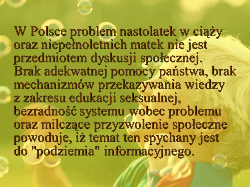 W Polsce problem nastolatek w ciąży oraz niepełnoletnich matek nie jest przedmiotem dyskusji społecznej.