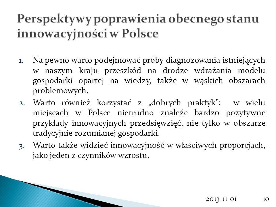 Perspektywy poprawienia obecnego stanu innowacyjności w Polsce