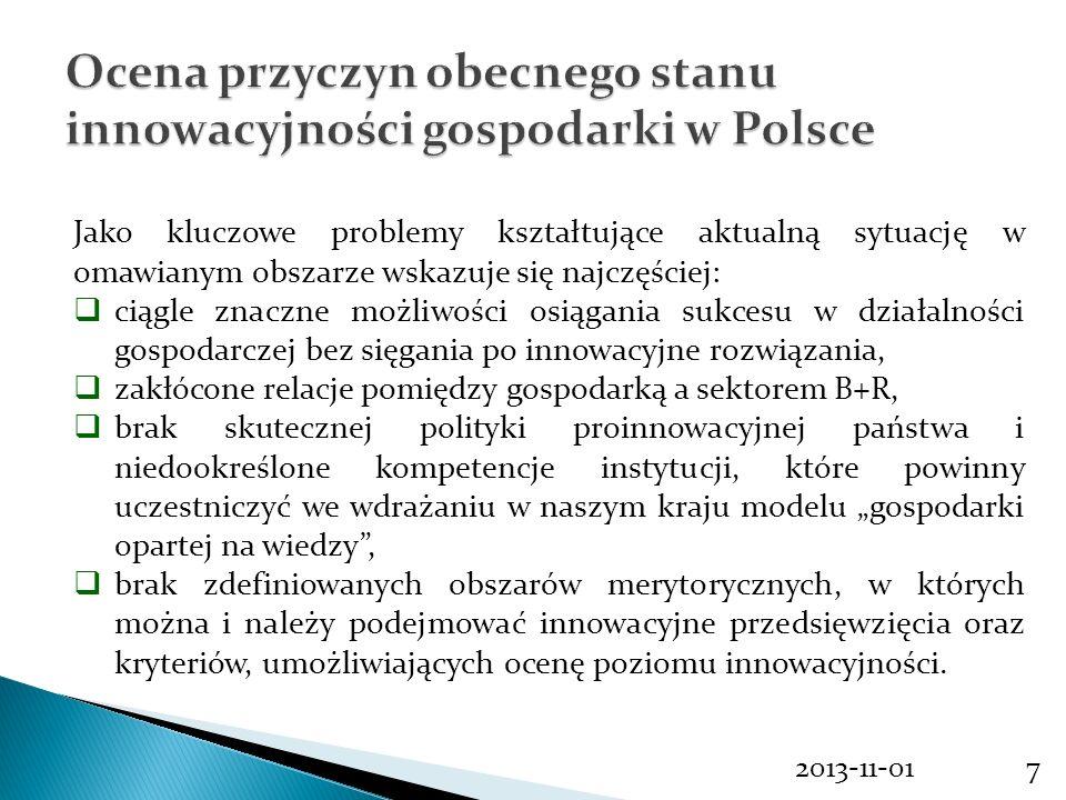 Ocena przyczyn obecnego stanu innowacyjności gospodarki w Polsce