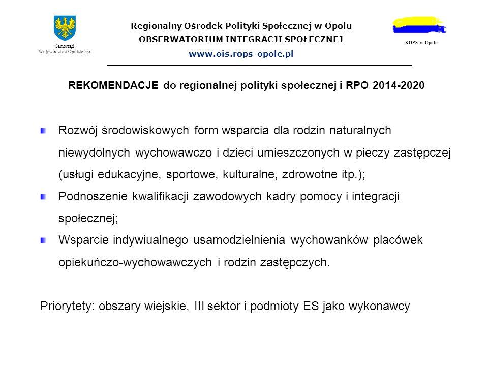 REKOMENDACJE do regionalnej polityki społecznej i RPO 2014-2020