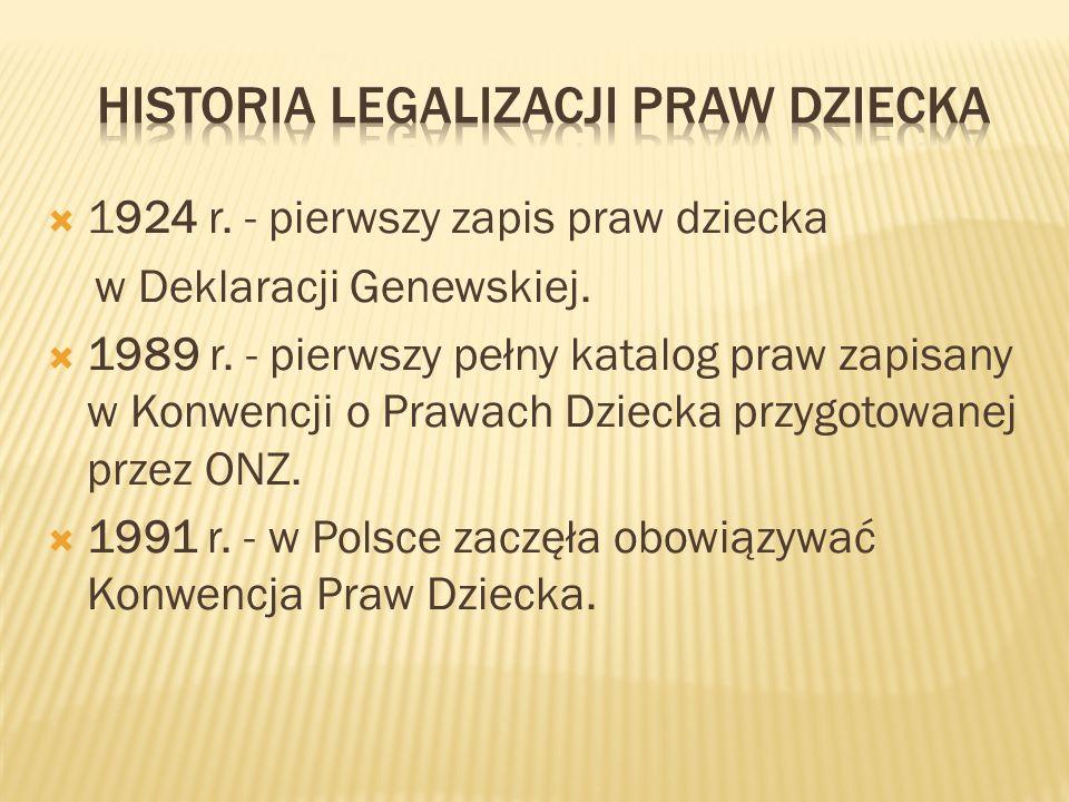 HISTORIA LEGALIZACJI PRAW DZIECKA