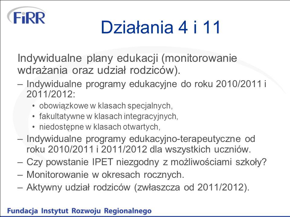 Działania 4 i 11Indywidualne plany edukacji (monitorowanie wdrażania oraz udział rodziców).