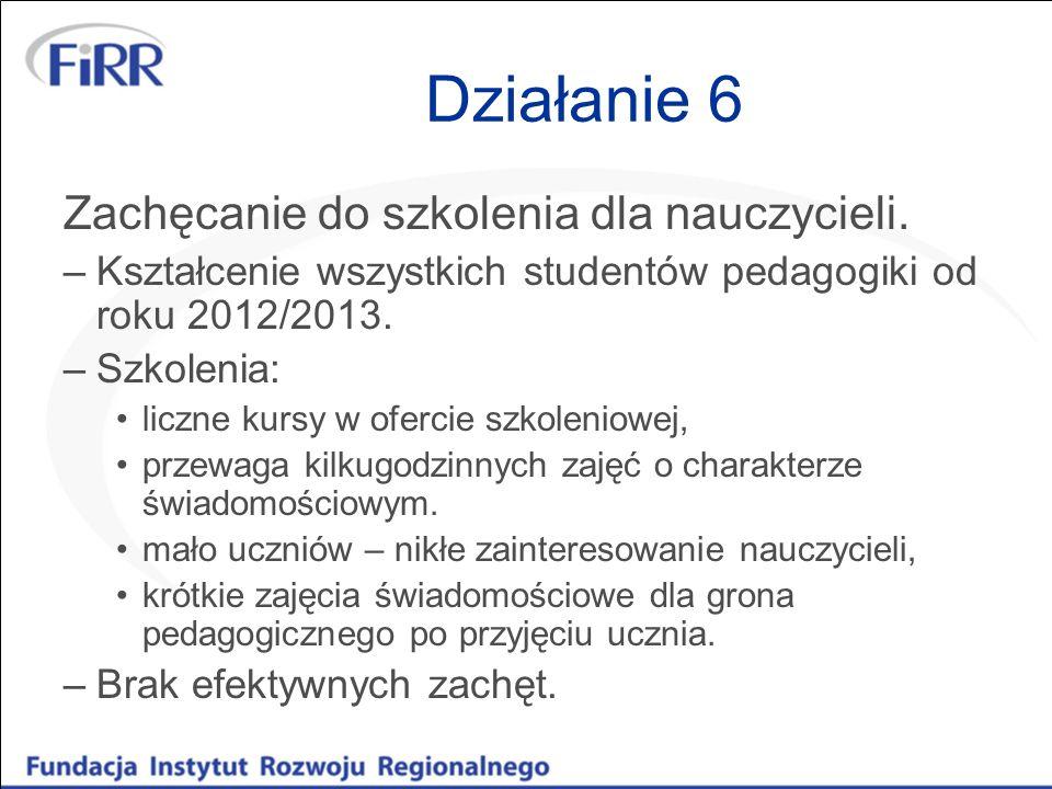 Działanie 6 Zachęcanie do szkolenia dla nauczycieli.
