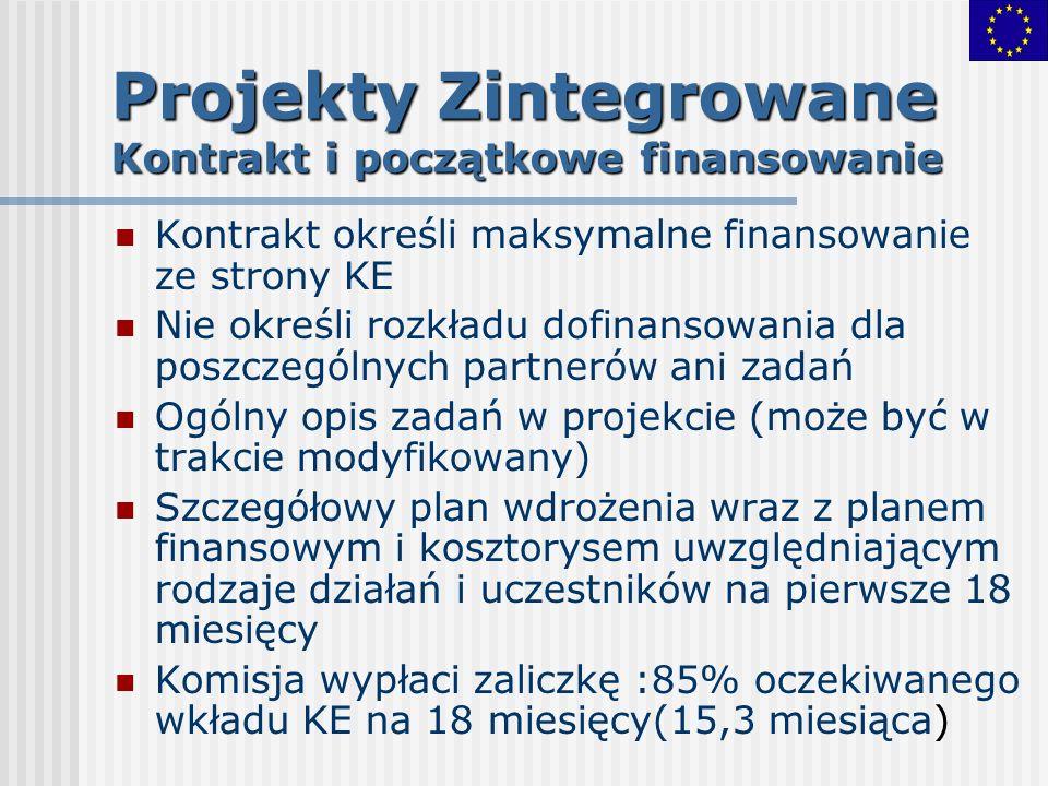 Projekty Zintegrowane Kontrakt i początkowe finansowanie