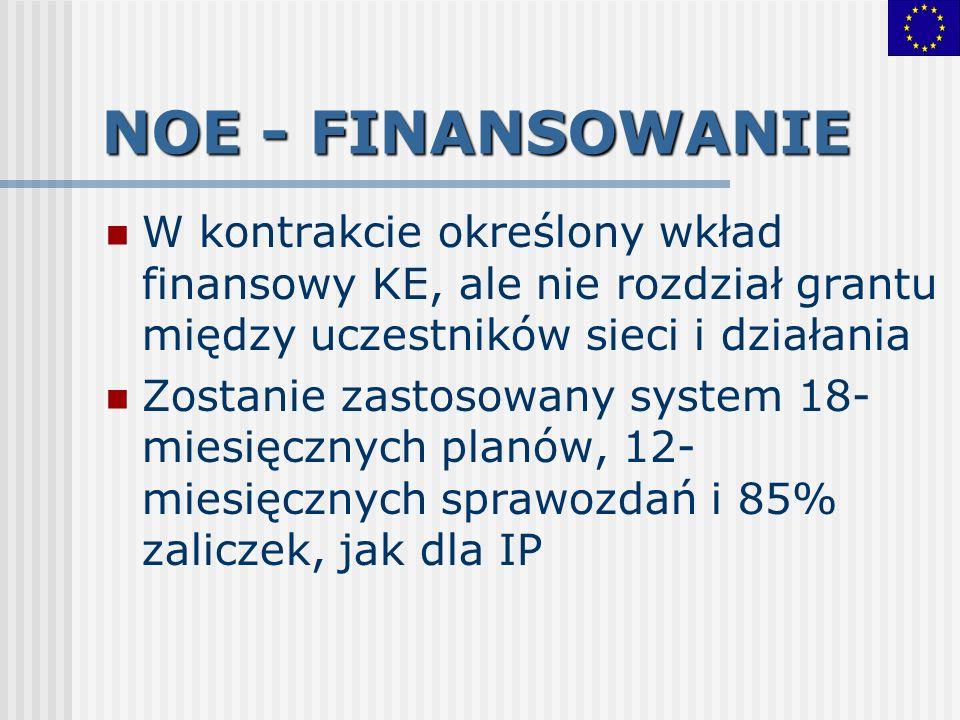 NOE - FINANSOWANIEW kontrakcie określony wkład finansowy KE, ale nie rozdział grantu między uczestników sieci i działania.