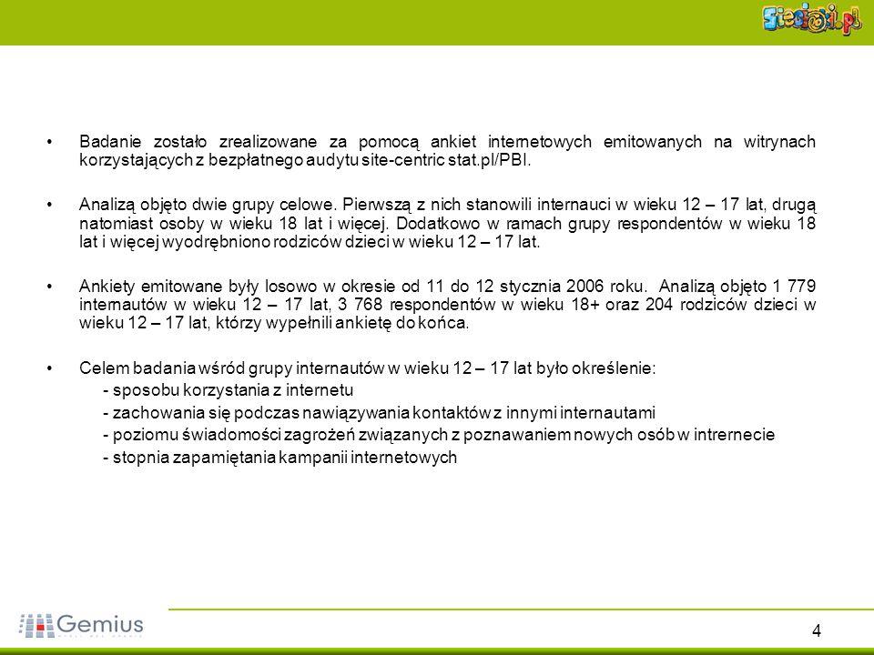 Badanie zostało zrealizowane za pomocą ankiet internetowych emitowanych na witrynach korzystających z bezpłatnego audytu site-centric stat.pl/PBI.