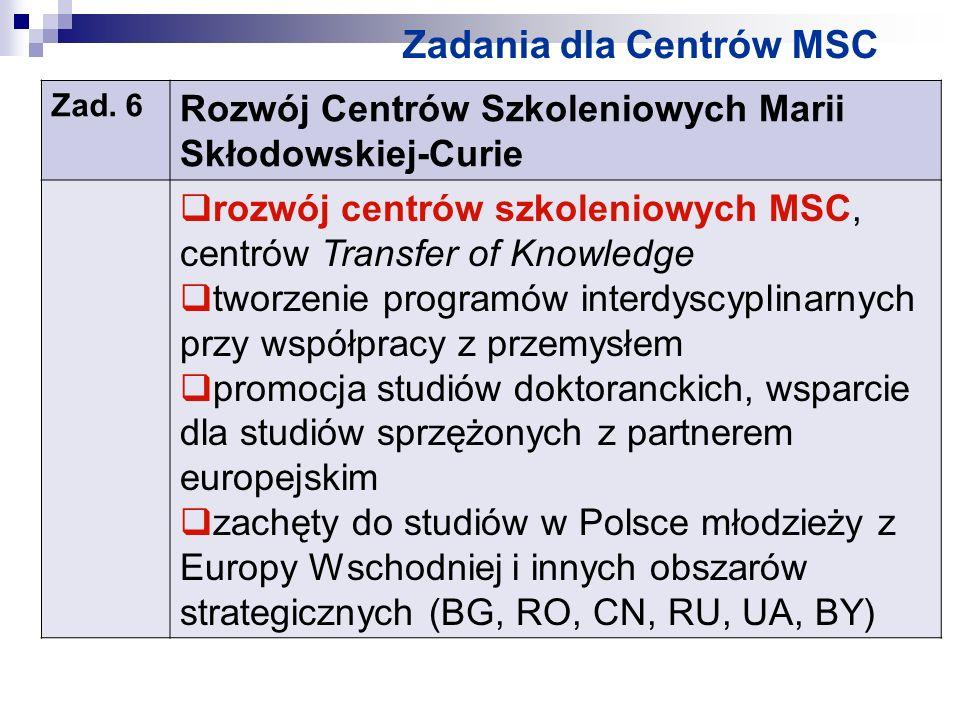 Zadania dla Centrów MSC