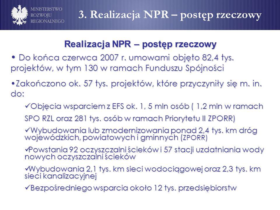 3. Realizacja NPR – postęp rzeczowy Realizacja NPR – postęp rzeczowy
