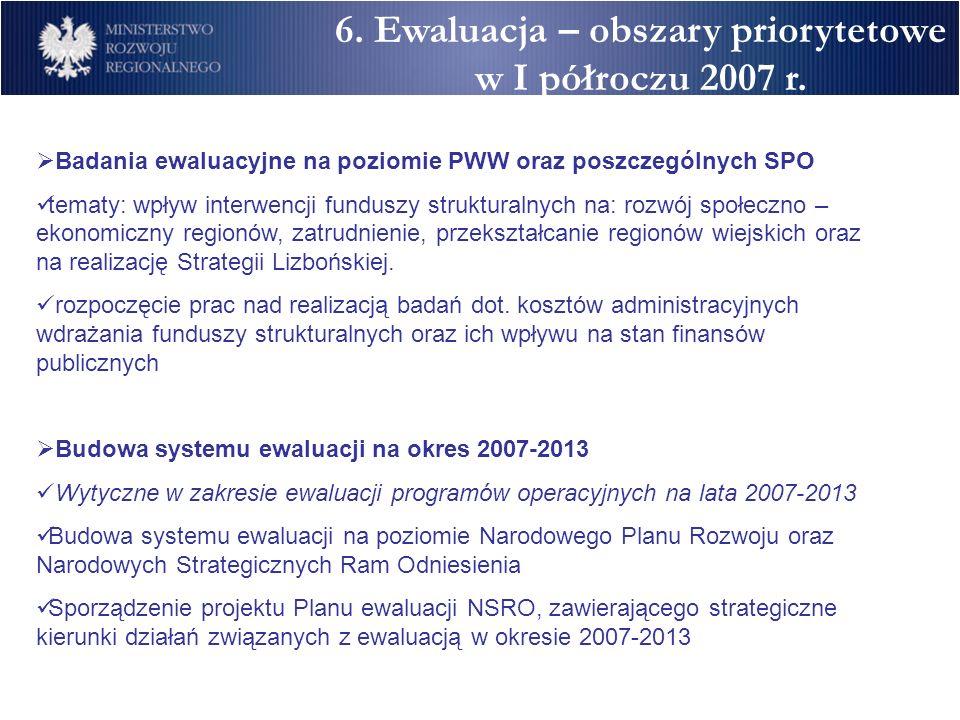 6. Ewaluacja – obszary priorytetowe w I półroczu 2007 r.