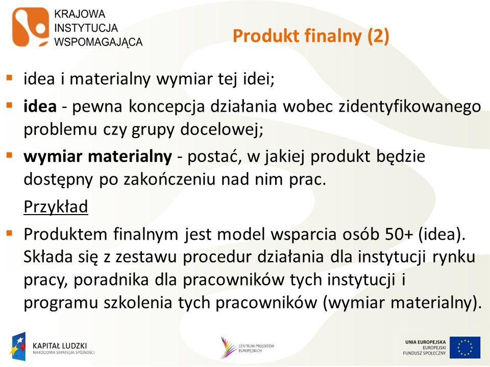 Produkt finalny (2) idea i materialny wymiar tej idei;