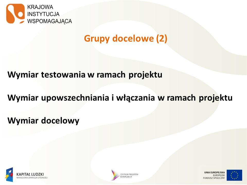 Grupy docelowe (2) Wymiar testowania w ramach projektu