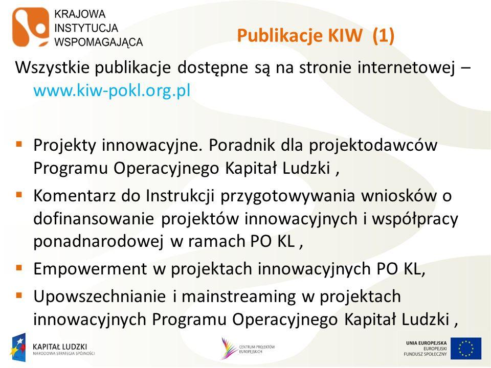 Publikacje KIW (1) Wszystkie publikacje dostępne są na stronie internetowej – www.kiw-pokl.org.pl.