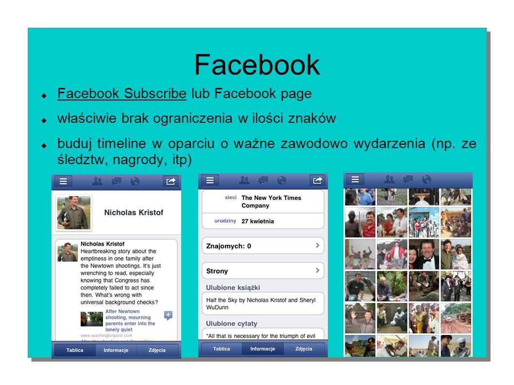 Facebook Facebook Subscribe lub Facebook page