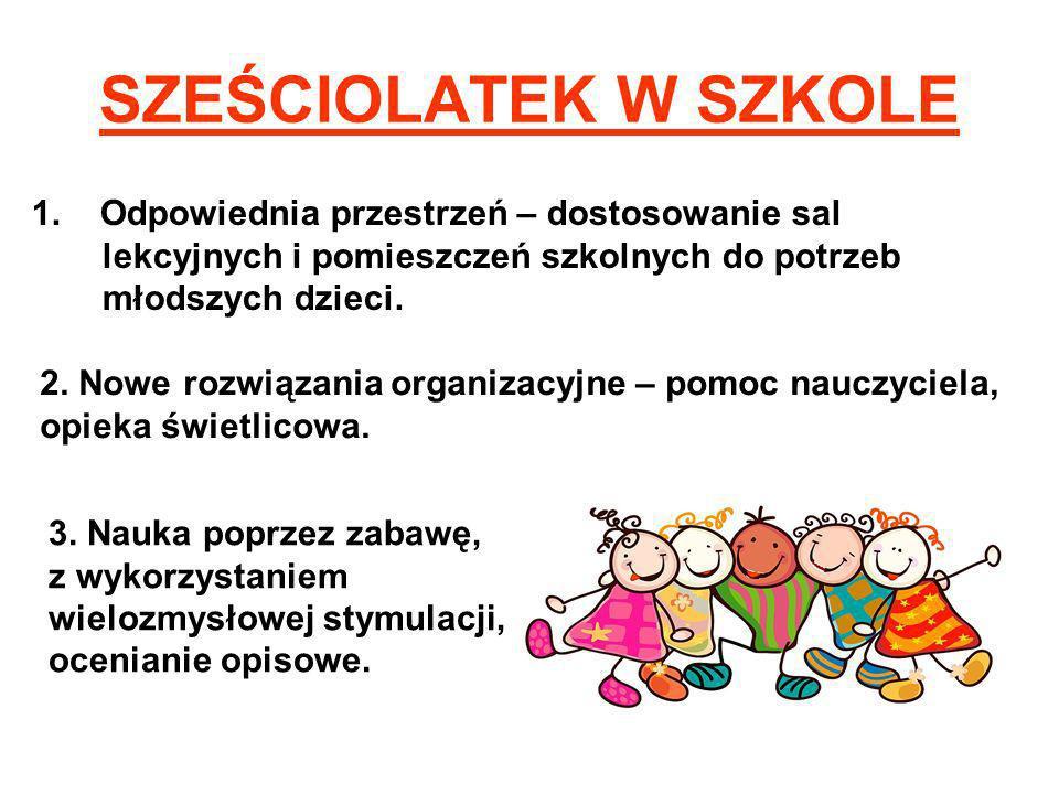 SZEŚCIOLATEK W SZKOLE 1. Odpowiednia przestrzeń – dostosowanie sal lekcyjnych i pomieszczeń szkolnych do potrzeb młodszych dzieci.