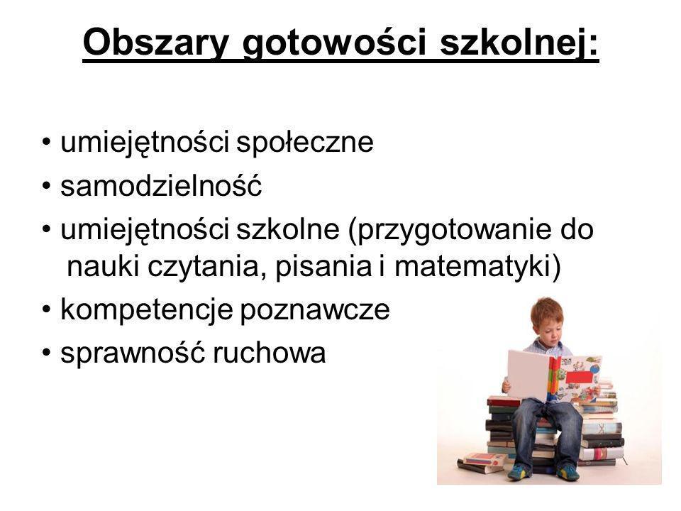 Obszary gotowości szkolnej: