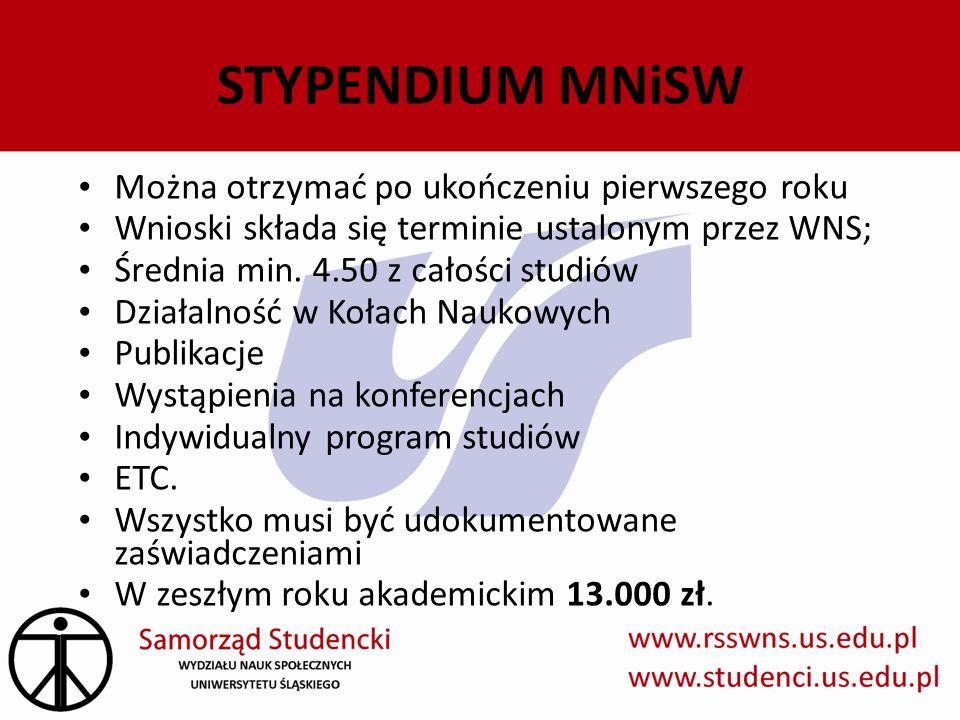 STYPENDIUM MNiSW Można otrzymać po ukończeniu pierwszego roku