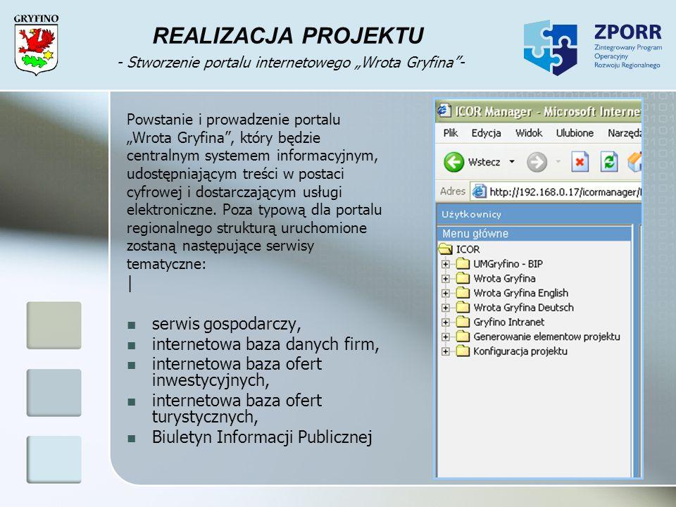 """REALIZACJA PROJEKTU - Stworzenie portalu internetowego """"Wrota Gryfina -"""