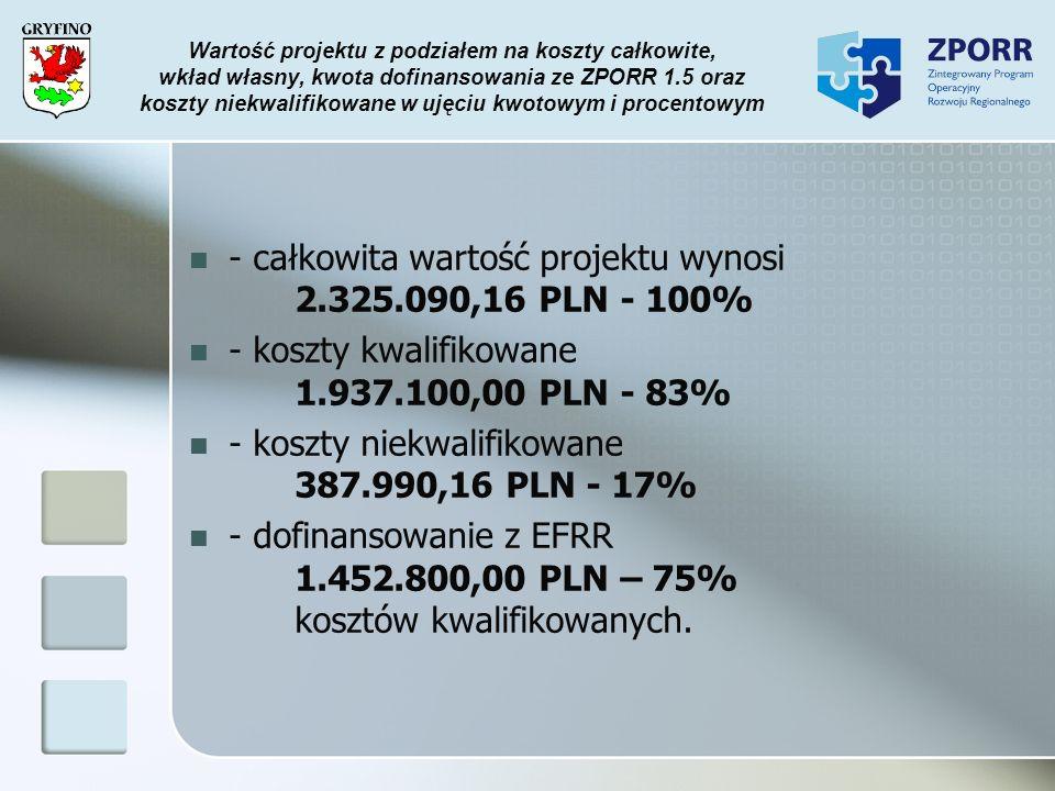 - całkowita wartość projektu wynosi 2.325.090,16 PLN - 100%