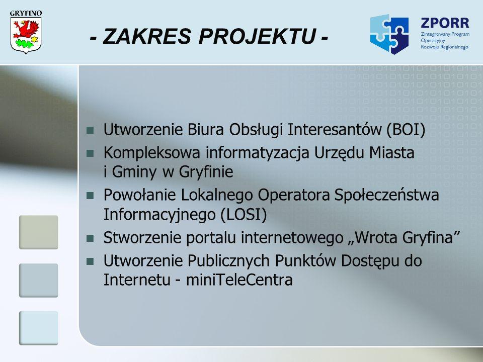- ZAKRES PROJEKTU - Utworzenie Biura Obsługi Interesantów (BOI)