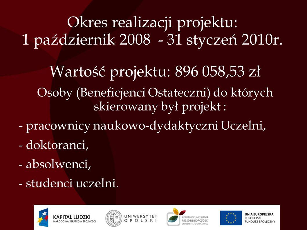 Okres realizacji projektu: 1 październik 2008 - 31 styczeń 2010r.
