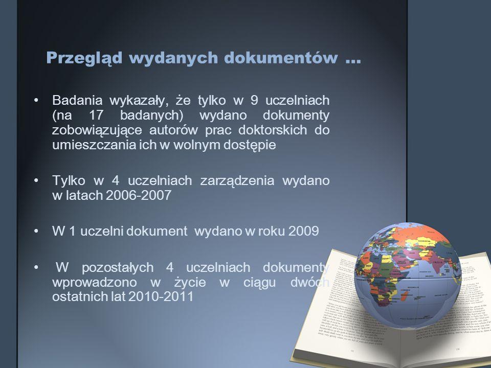 Przegląd wydanych dokumentów …
