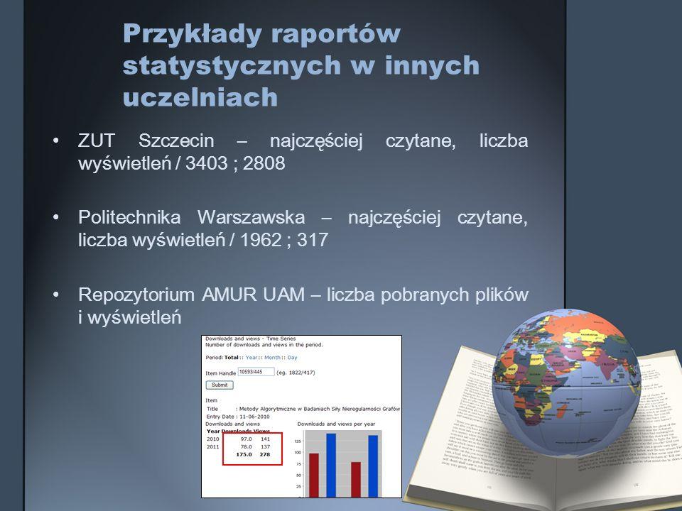 Przykłady raportów statystycznych w innych uczelniach