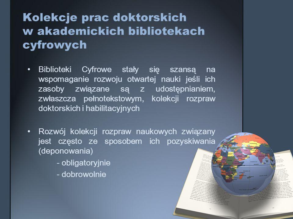 Kolekcje prac doktorskich w akademickich bibliotekach cyfrowych
