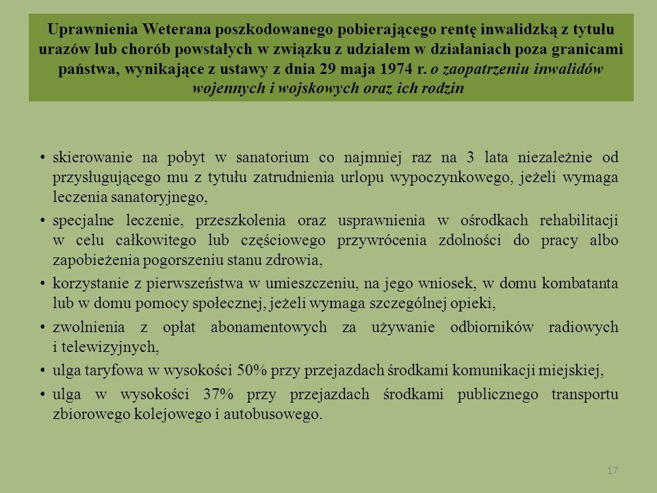 Uprawnienia Weterana poszkodowanego pobierającego rentę inwalidzką z tytułu urazów lub chorób powstałych w związku z udziałem w działaniach poza granicami państwa, wynikające z ustawy z dnia 29 maja 1974 r. o zaopatrzeniu inwalidów wojennych i wojskowych oraz ich rodzin