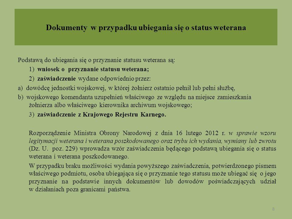 Dokumenty w przypadku ubiegania się o status weterana