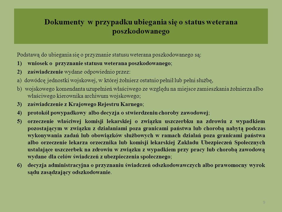Dokumenty w przypadku ubiegania się o status weterana poszkodowanego