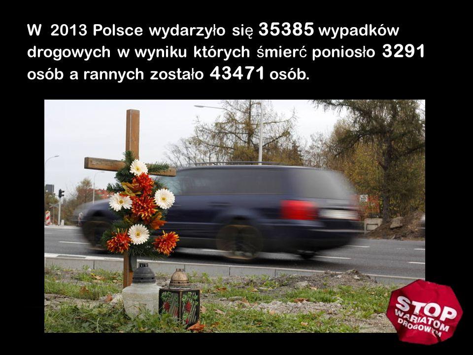 W 2013 Polsce wydarzyło się 35385 wypadków drogowych w wyniku których śmierć poniosło 3291 osób a rannych zostało 43471 osób.