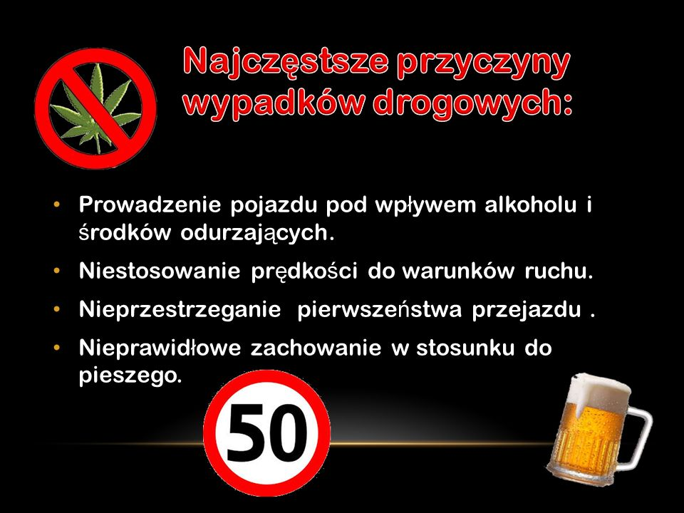 Najczęstsze przyczyny wypadków drogowych: