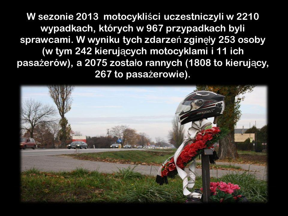 W sezonie 2013 motocykliści uczestniczyli w 2210 wypadkach, których w 967 przypadkach byli sprawcami.