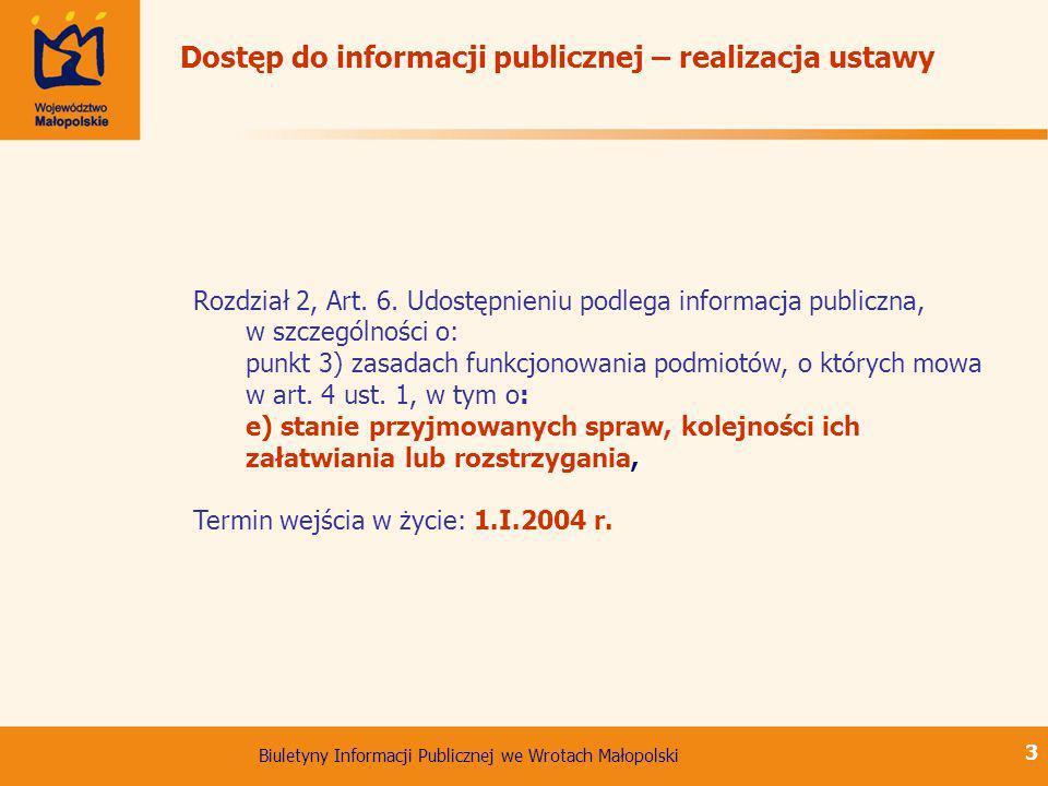 Dostęp do informacji publicznej – realizacja ustawy