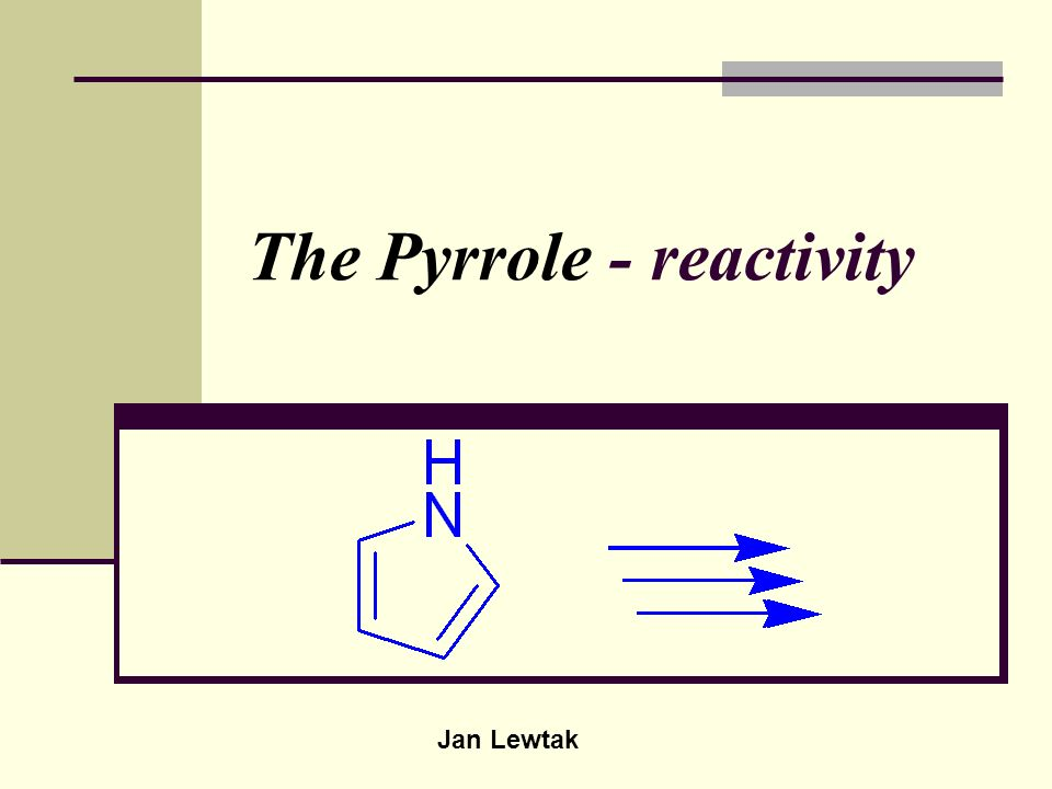 The Pyrrole - reactivity