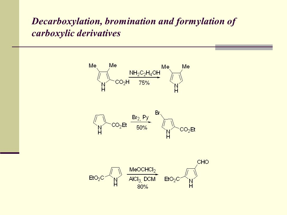Decarboxylation, bromination and formylation of carboxylic derivatives