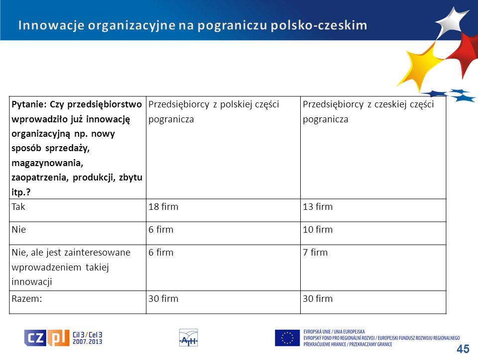 Innowacje organizacyjne na pograniczu polsko-czeskim
