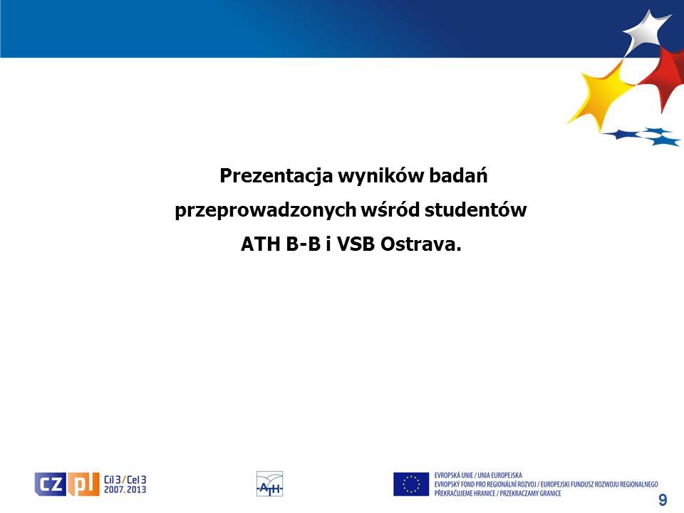 Prezentacja wyników badań przeprowadzonych wśród studentów ATH B-B i VSB Ostrava.