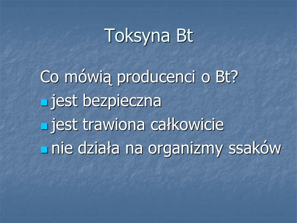 Toksyna Bt Co mówią producenci o Bt jest bezpieczna