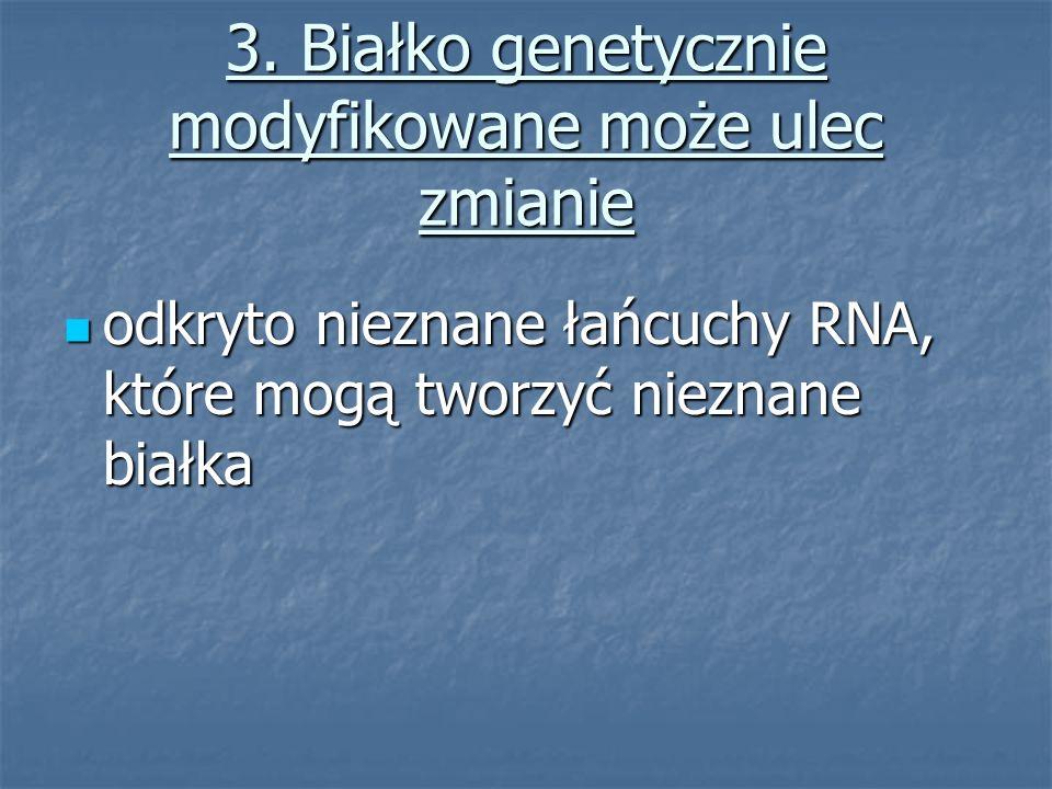 3. Białko genetycznie modyfikowane może ulec zmianie