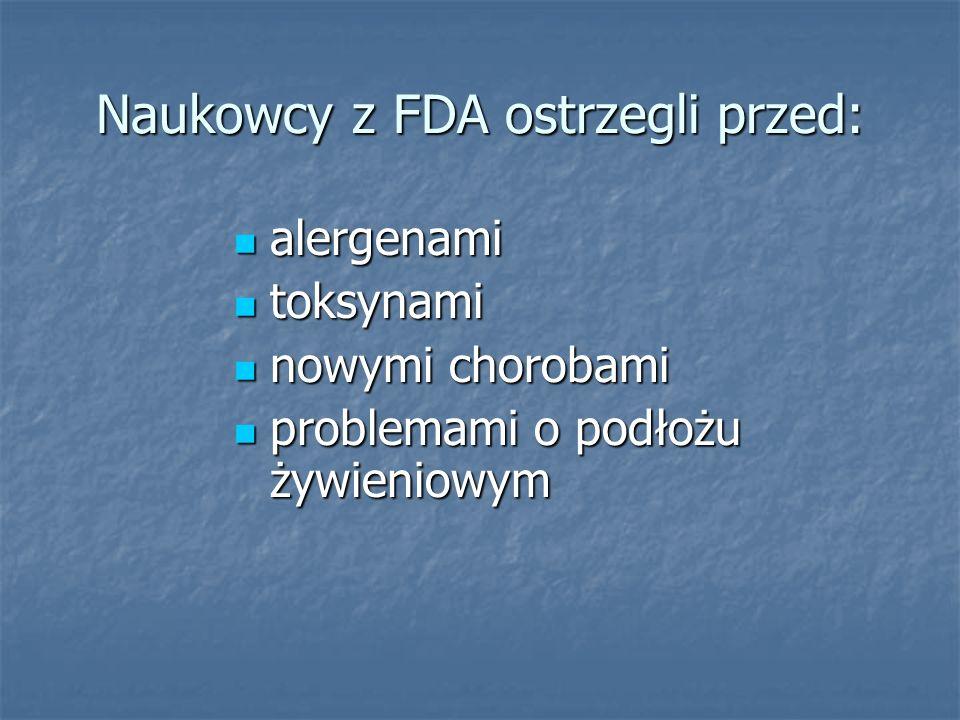 Naukowcy z FDA ostrzegli przed: