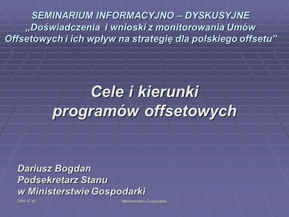 programów offsetowych