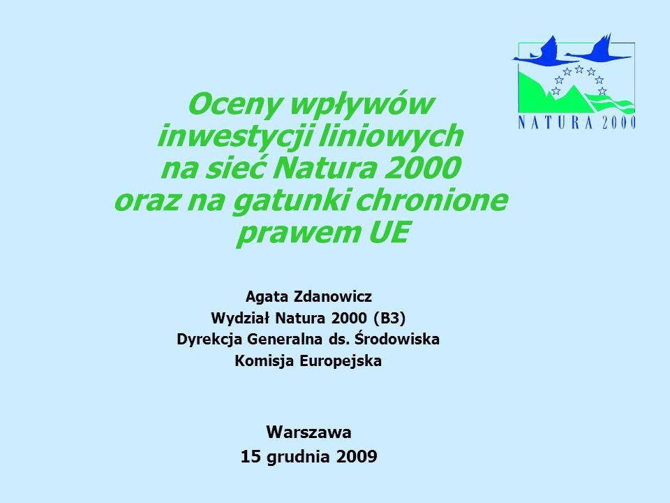 oraz na gatunki chronione prawem UE Dyrekcja Generalna ds. Środowiska