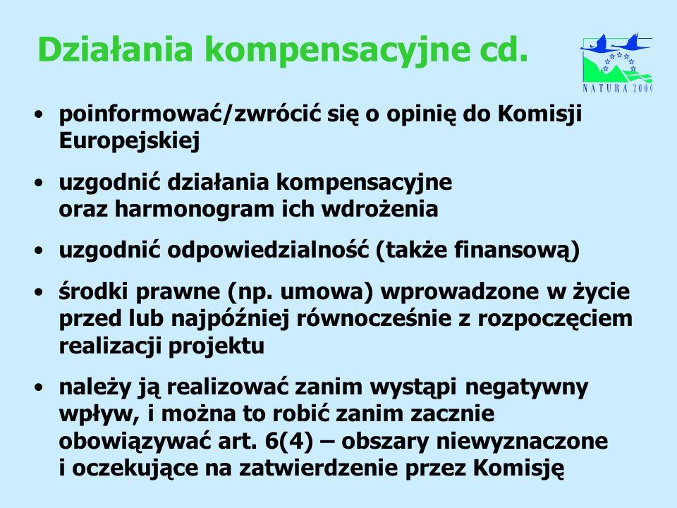 Działania kompensacyjne cd.