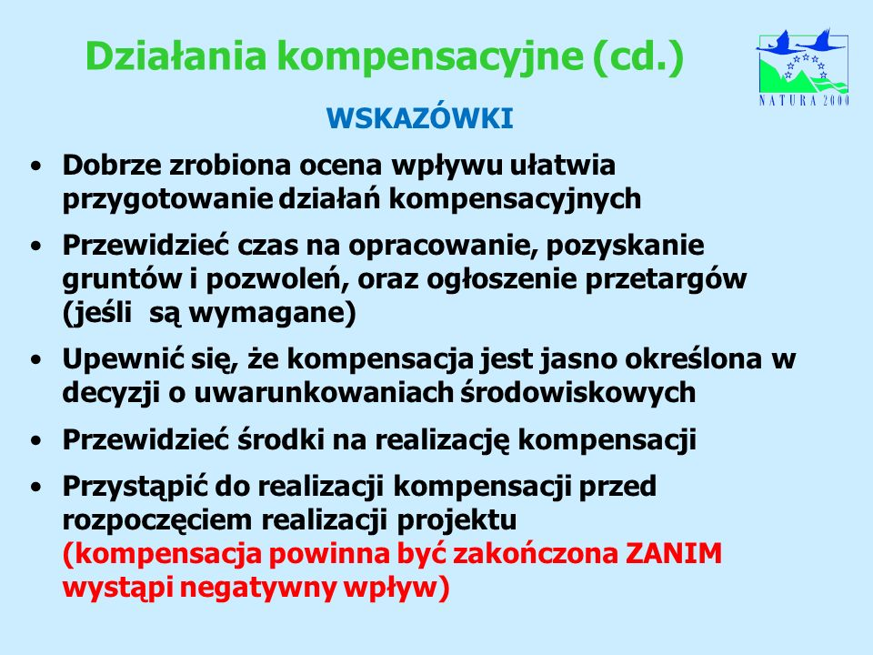 Działania kompensacyjne (cd.)