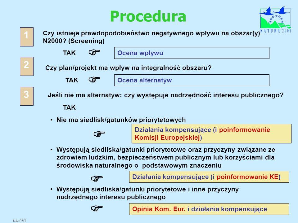 Procedura 1. Czy istnieje prawdopodobieństwo negatywnego wpływu na obszar(y) N2000 (Screening) F.