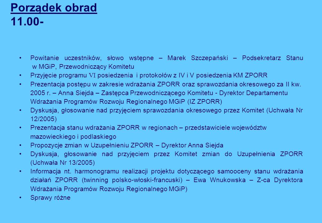 Porządek obrad 11.00-Powitanie uczestników, słowo wstępne – Marek Szczepański – Podsekretarz Stanu w MGiP, Przewodniczący Komitetu.