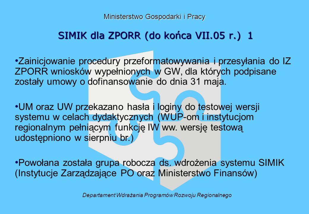 Ministerstwo Gospodarki i Pracy SIMIK dla ZPORR (do końca VII.05 r.) 1