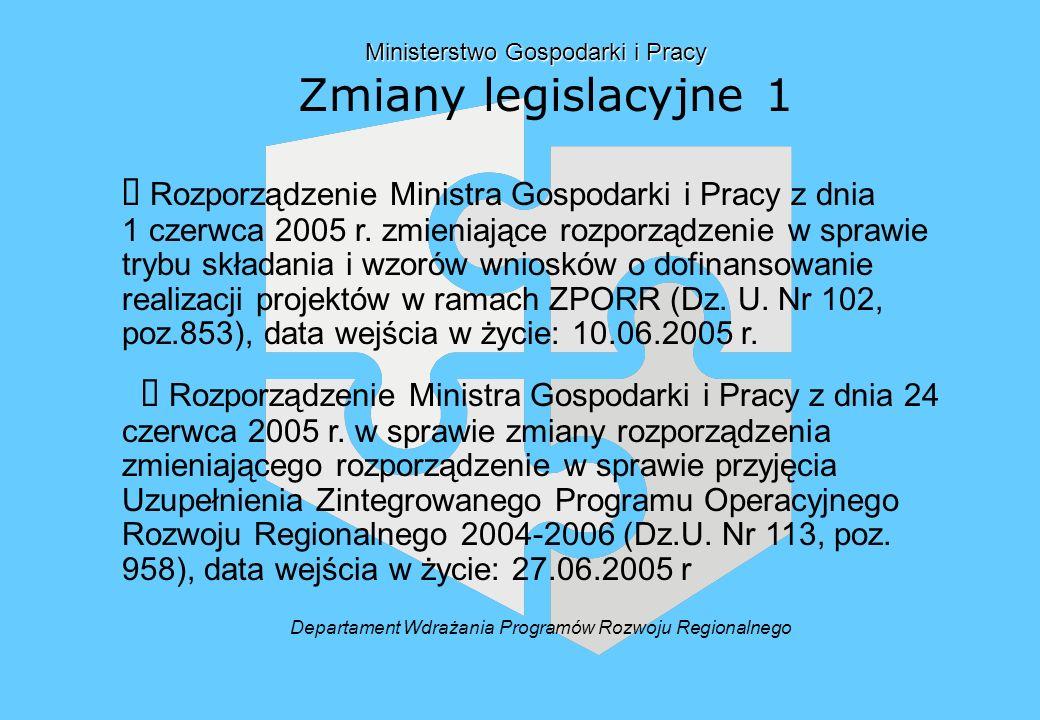 Ministerstwo Gospodarki i Pracy Zmiany legislacyjne 1